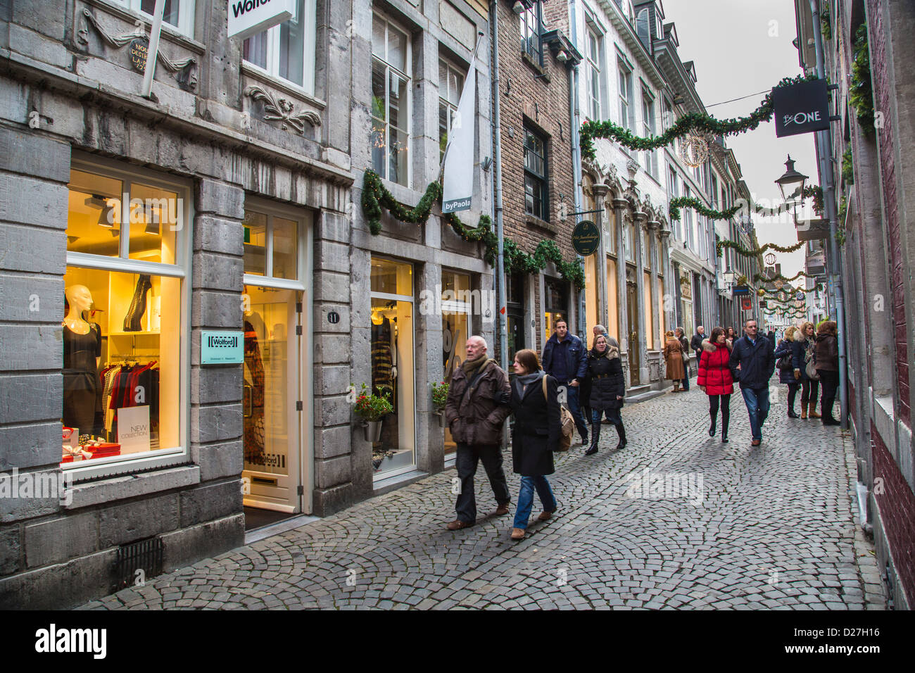 Small shopping street stokstraat in the historic heart of - Maastricht mobel ...