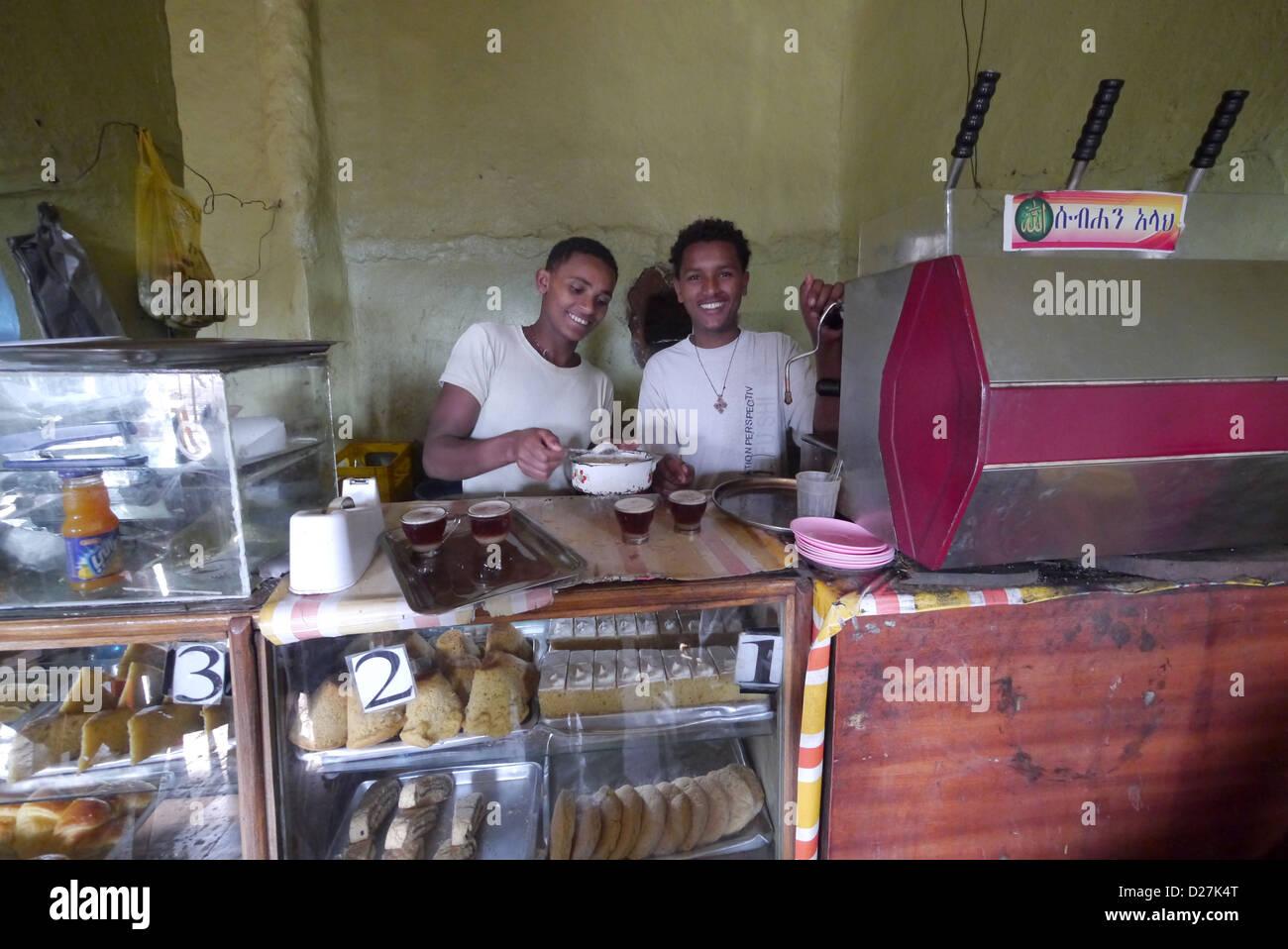 ETHIOPIA The 'Salam Cafe' in Chagni, Beni Shangul Gumuz region. Employees using espresso machine. Stock Photo