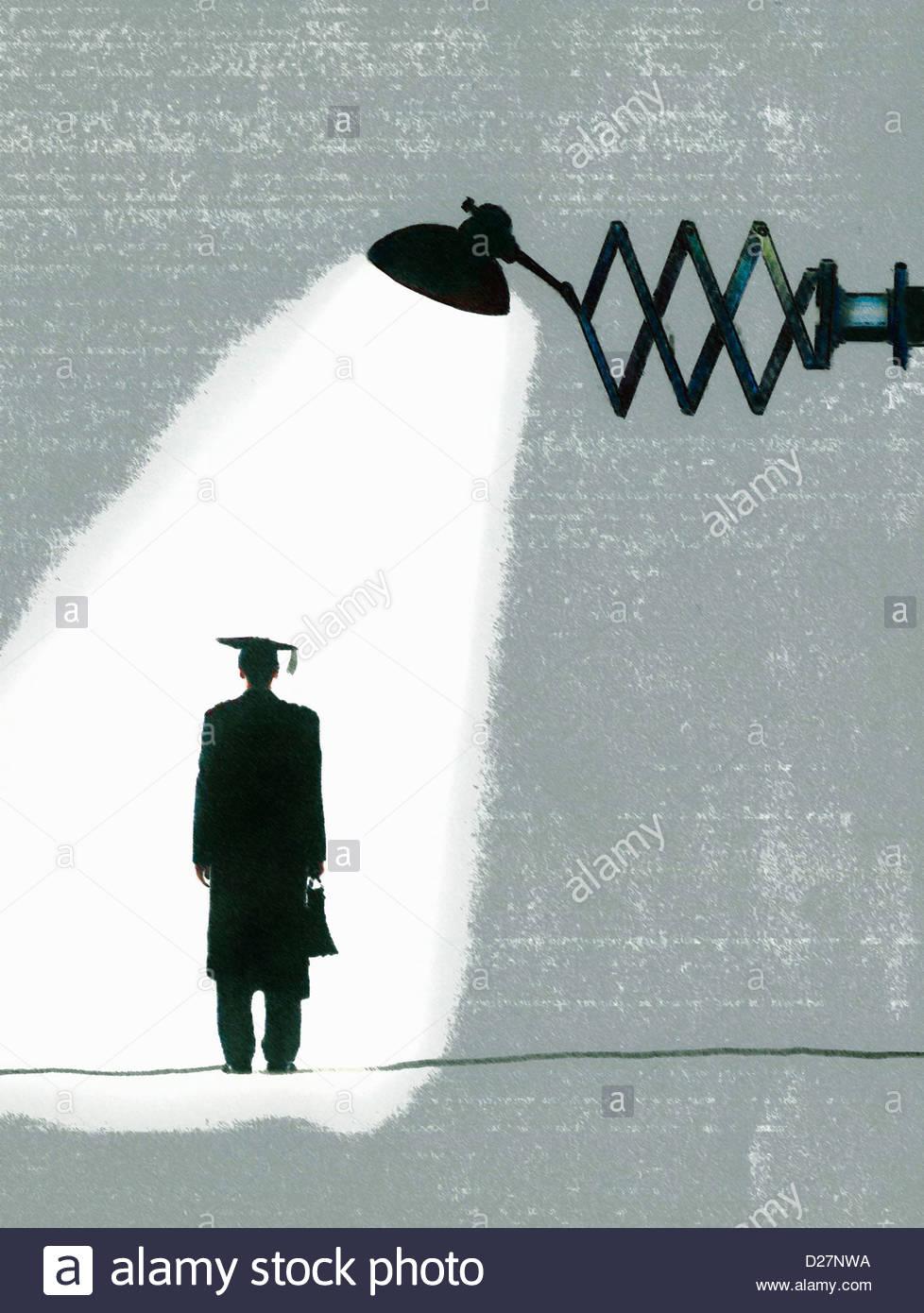 Spotlight over graduate - Stock Image