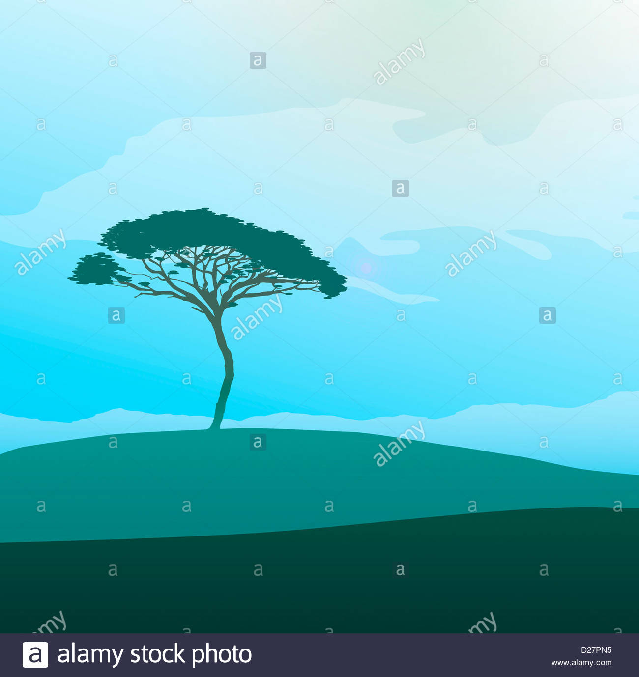 Tree in tranquil field - Stock Image