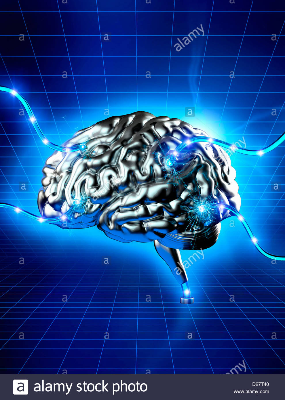 Sparks from wires connected to human brain - Stock Image