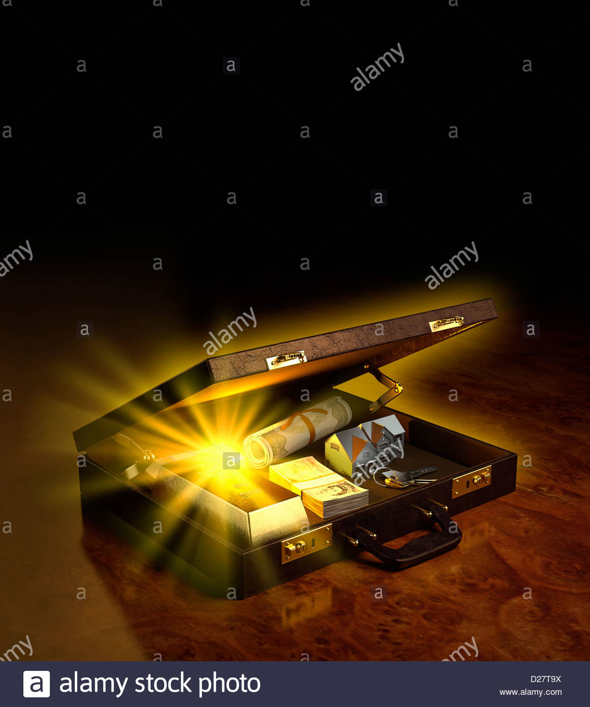 glowing money stocks and assets in open briefcase stock photo