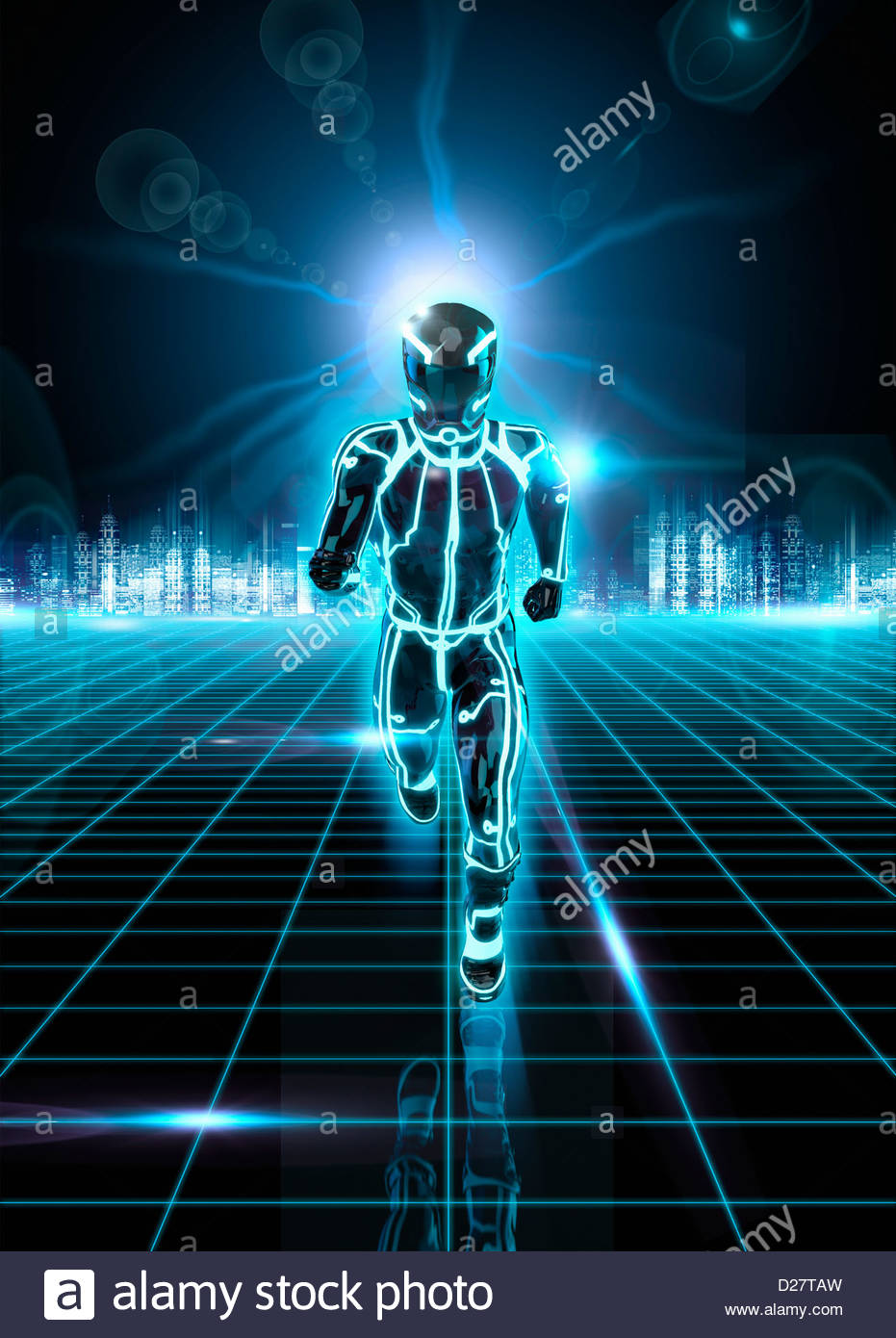Glowing android running on grid from futuristic city - Stock Image