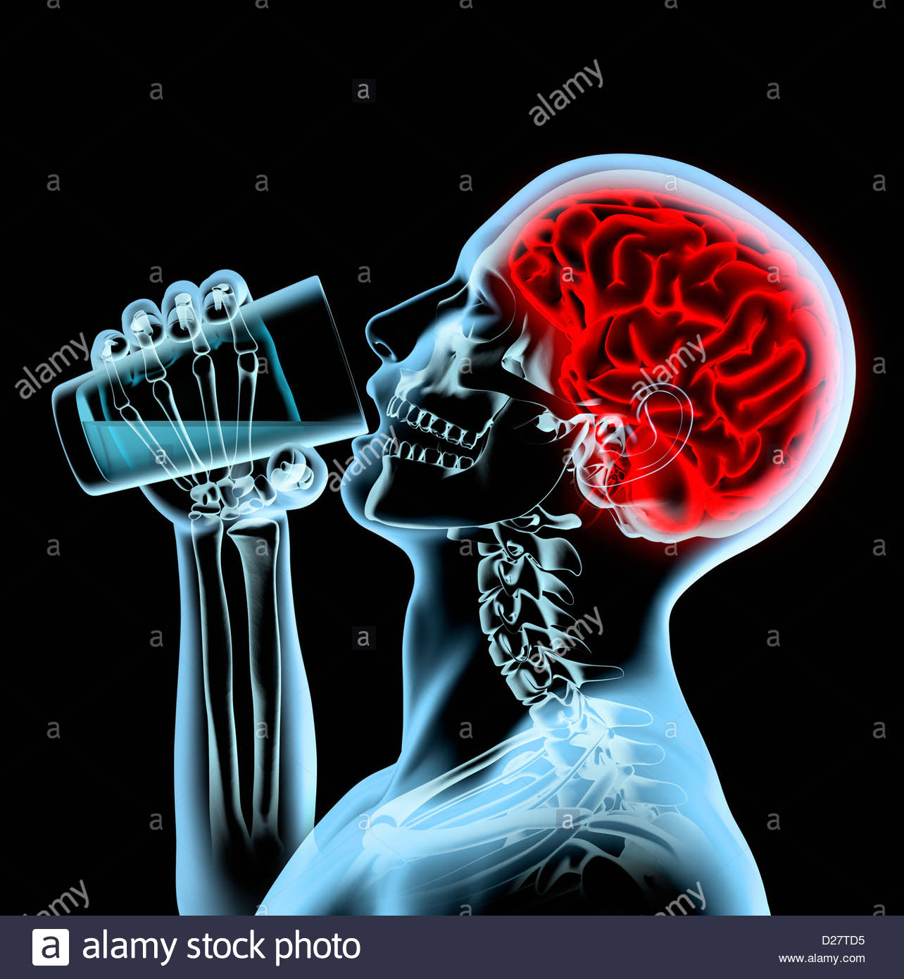 X-ray of man with red brain drinking from glass - Stock Image
