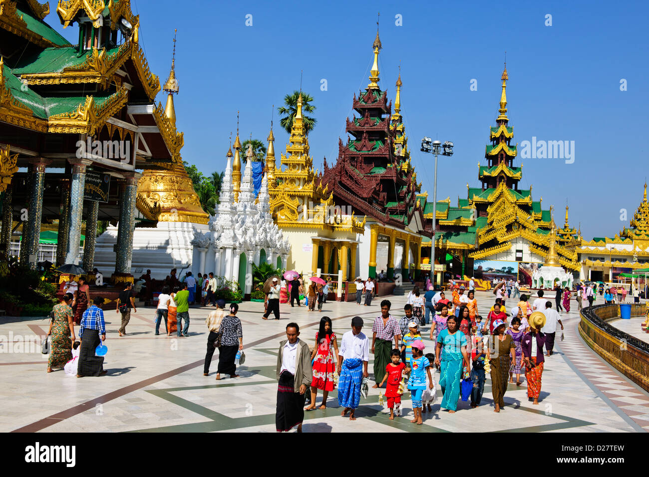 Shwedagon Pagoda,Buddhas,Buddhism Offerings at Planetary Posts,Outlying Buildings,Buddhist Bells,Yangon,Myanmar,Rangoon,Burma Stock Photo