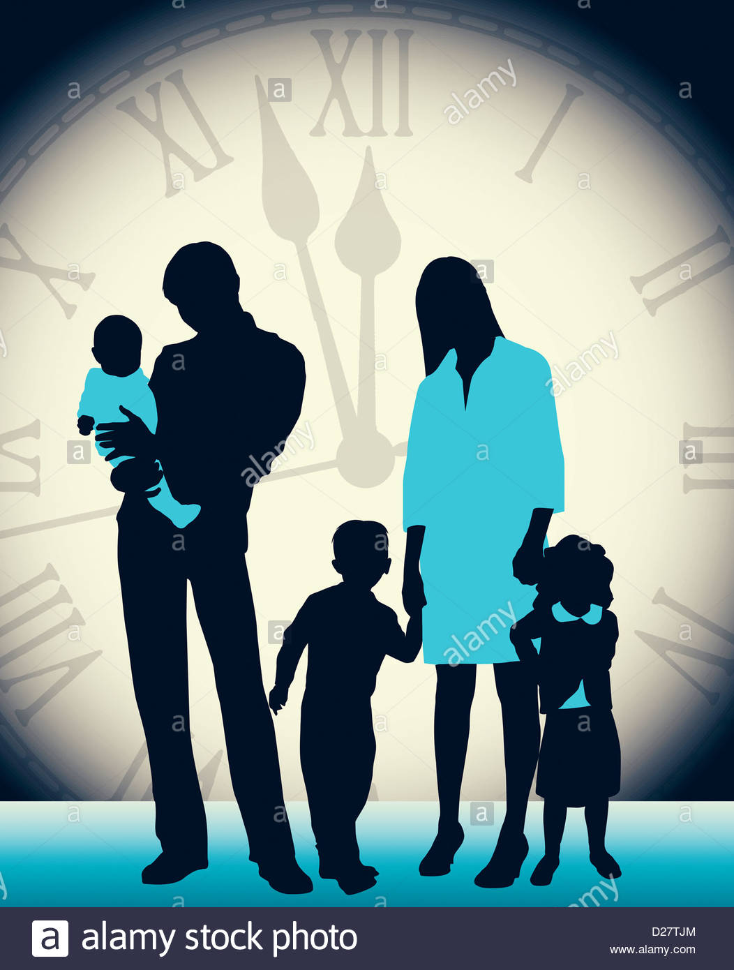 Large clock behind family - Stock Image