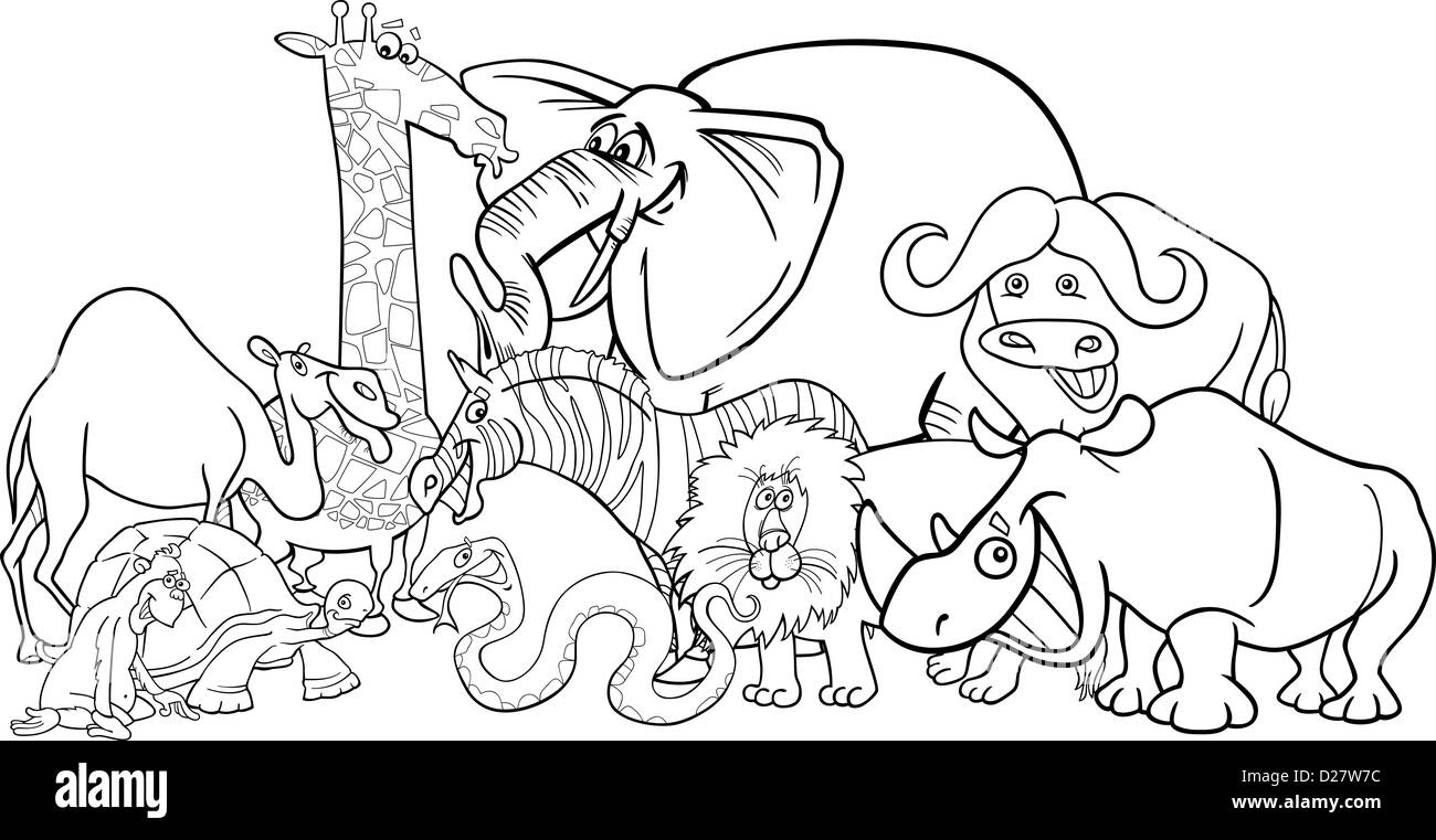 Black And White Cartoon Illustration Of Funny African Safari Wild Animals Group For Coloring Book