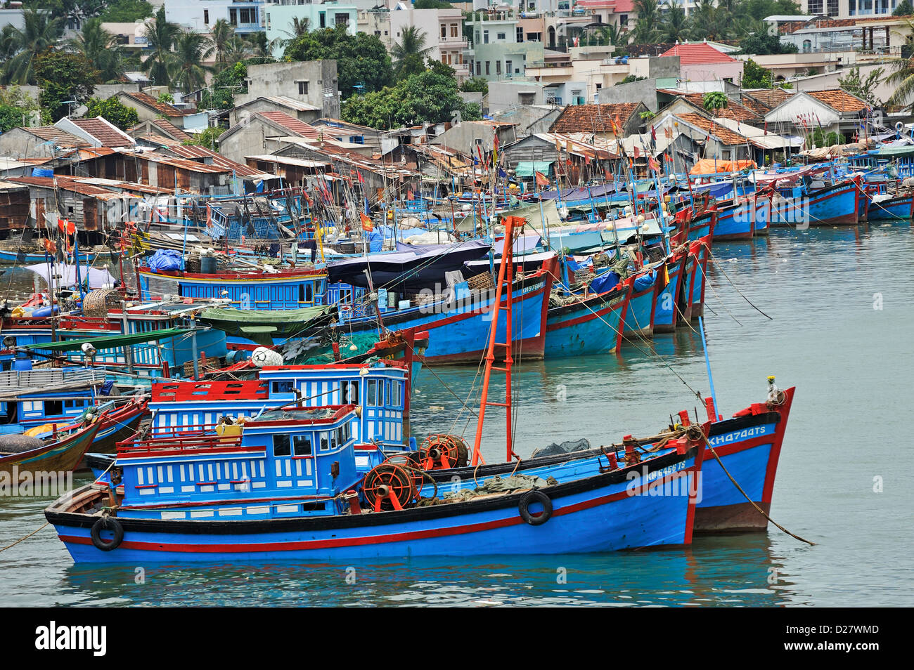 Fishing fleet at harbor, Nha Trang, Vietnam - Stock Image