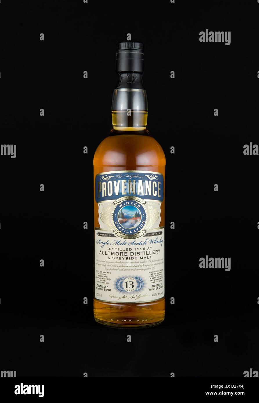 bottle of provenance single malt scotch whisky - Stock Image