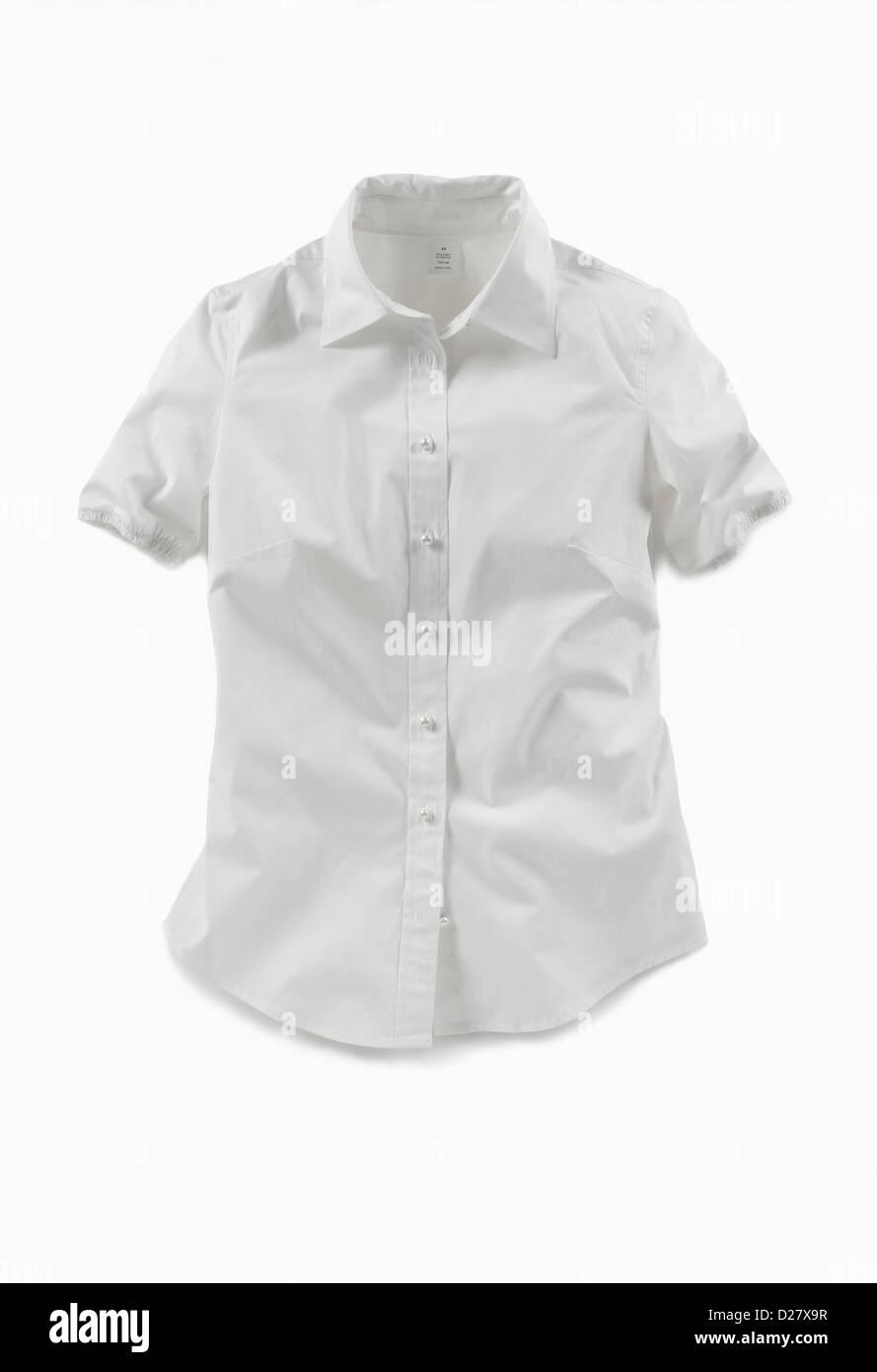 Short-Sleeved White Blouse on White Background - Stock Image