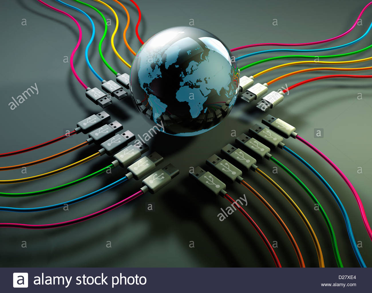 Globe at center of multicolored usb cables - Stock Image