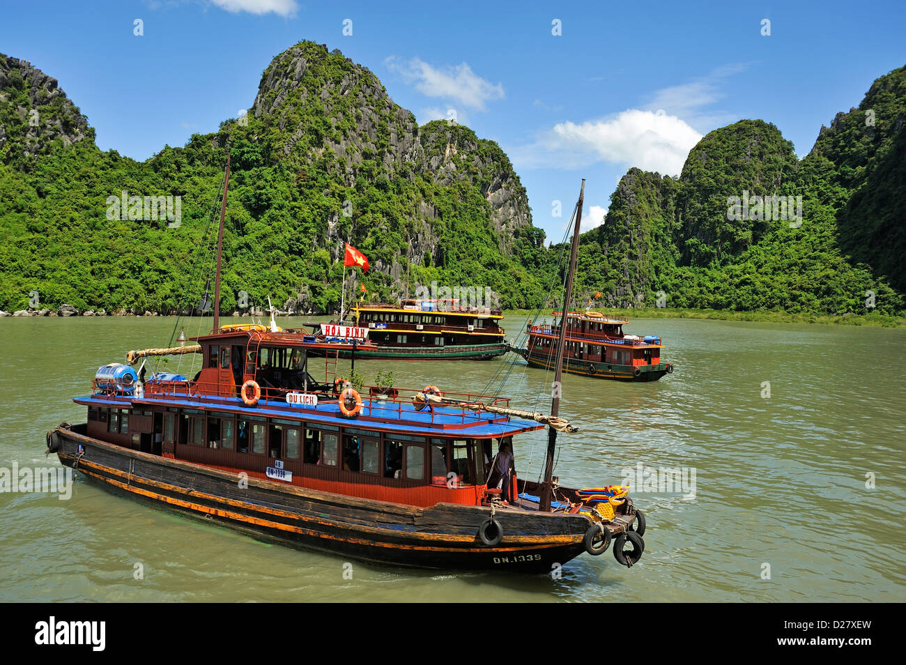 Halong Bay, Vietnam - Junk boats - Stock Image