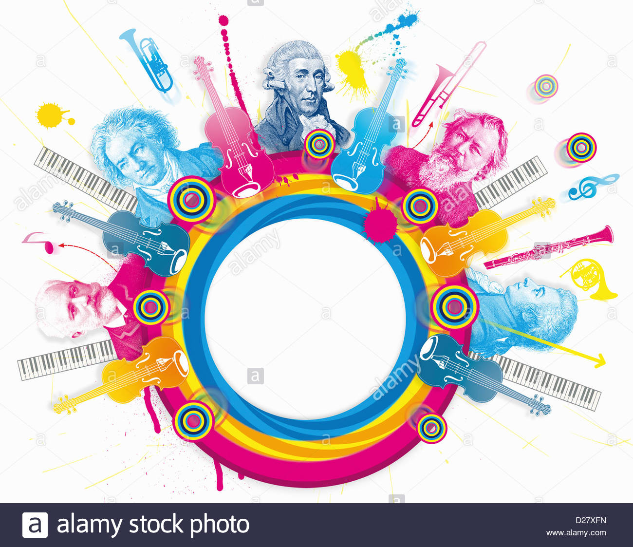 Multicolored collage of classical music composers - Stock Image