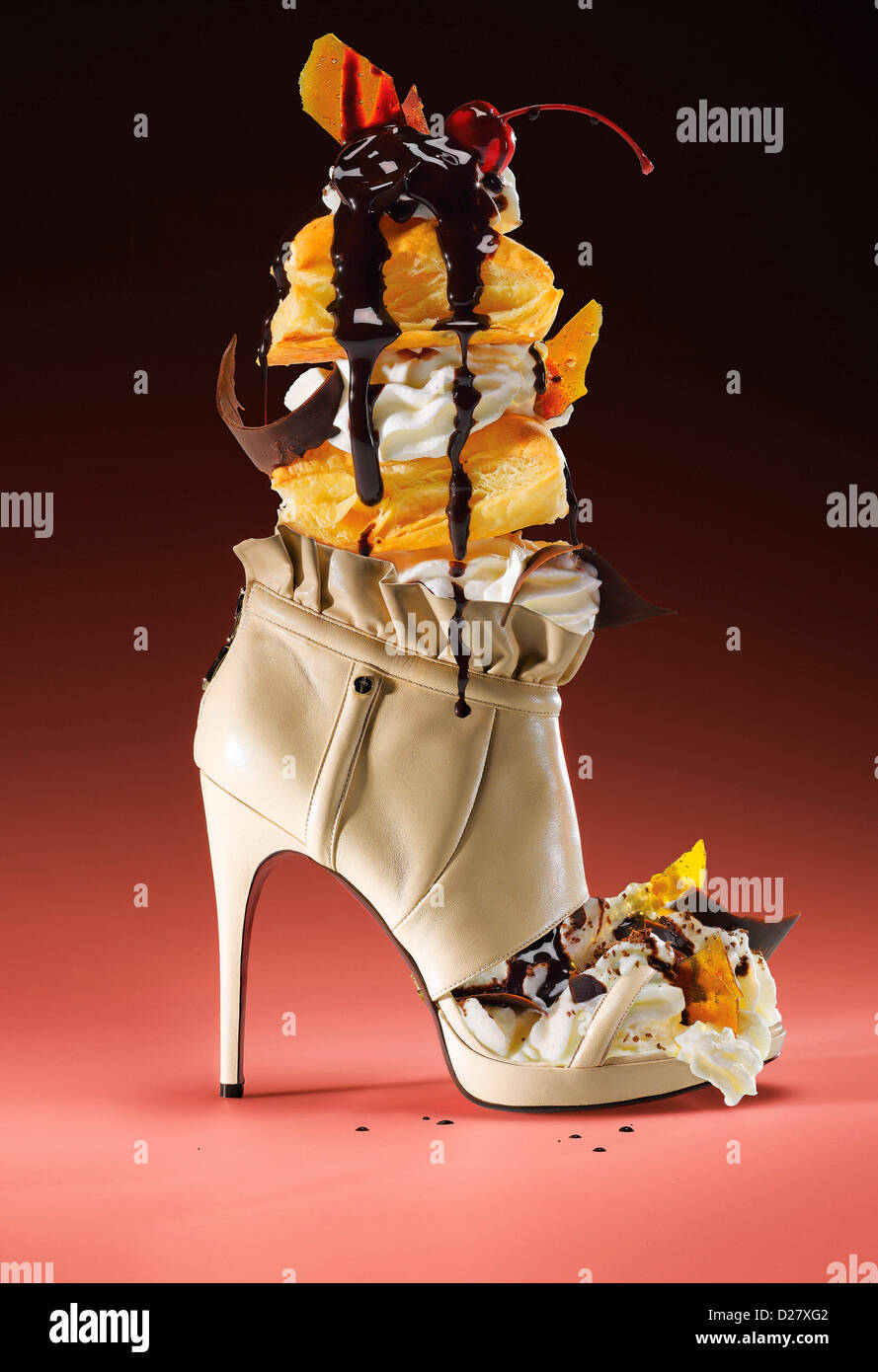bff0bd920cf High Heel Shoe Filled With Ice Cream Sundae on Pink Background Stock ...