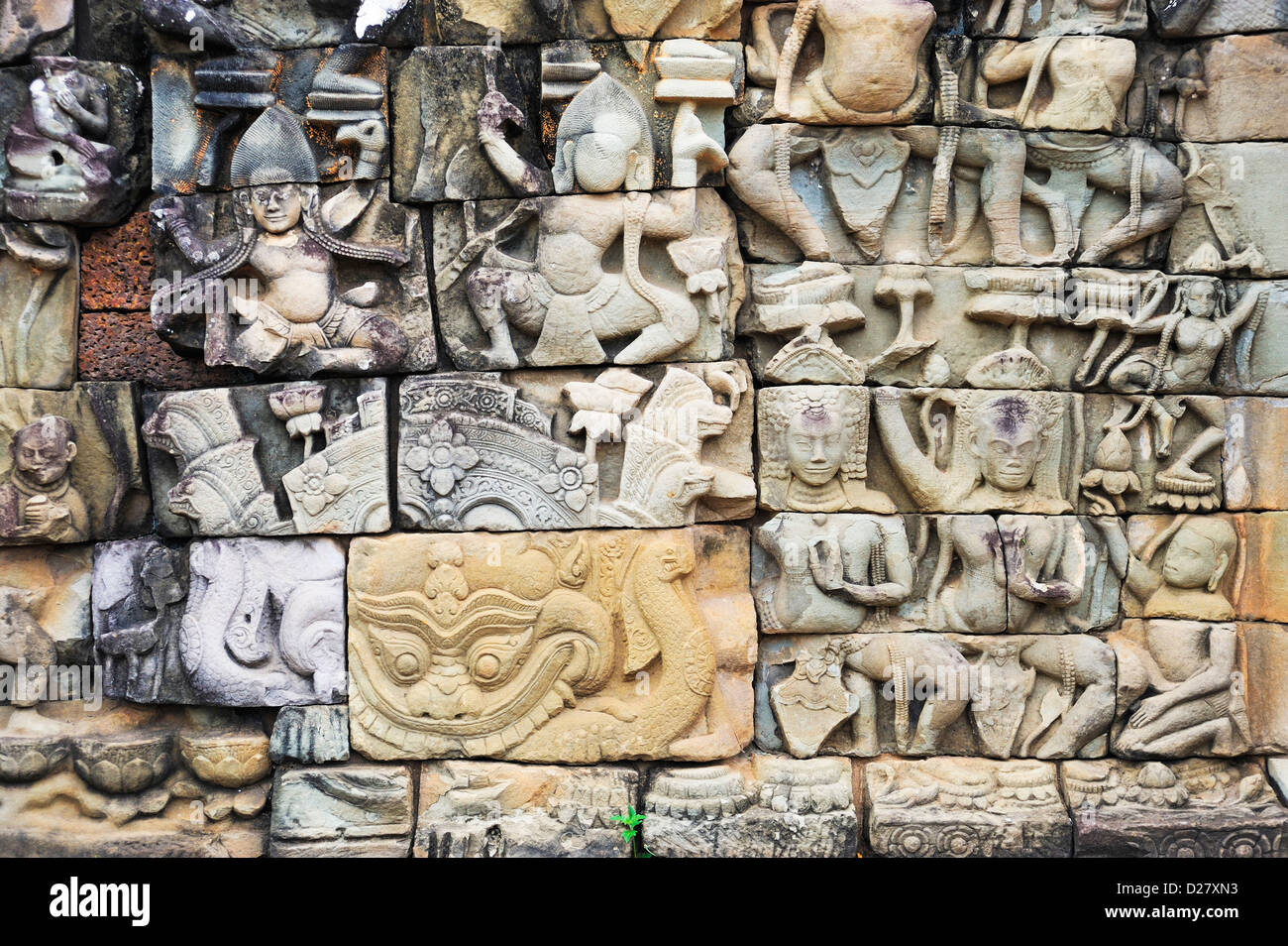 Reliefs at Elephant Terrace, Angkor Wat, Cambodia - Stock Image
