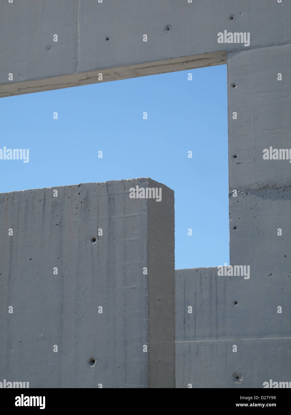 abstract shape oblong rectangle blue sky concrete stone window - Stock Image