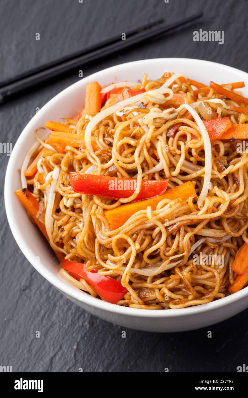 Stir fry vegetable noodles Stock Photo