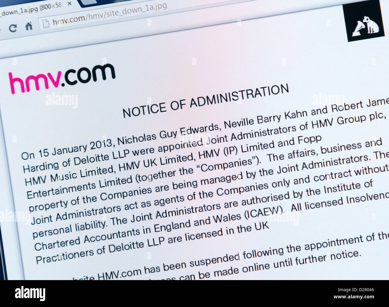 HMV website shows group in administration on January 16th 2013 - Stock Image