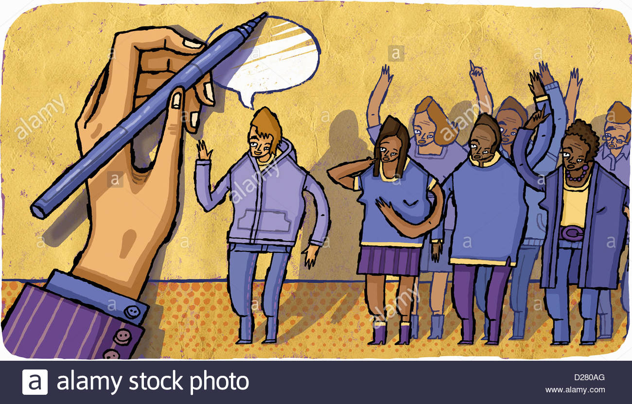 Large hand writing speech bubble above people asking questions - Stock Image