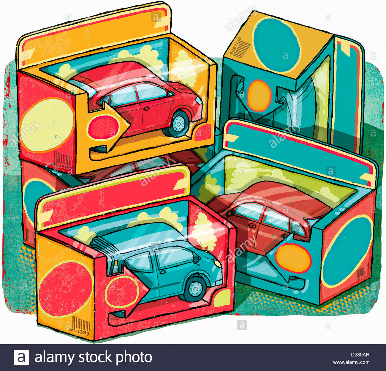Boxes of collectible cars - Stock Image