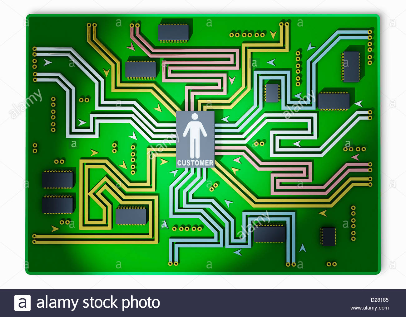 Customer at center of circuit board - Stock Image