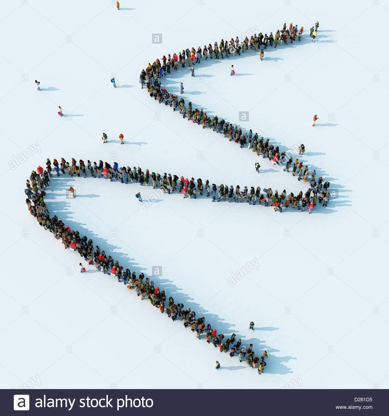 Queue of people waiting in a zigzag line - Stock Image
