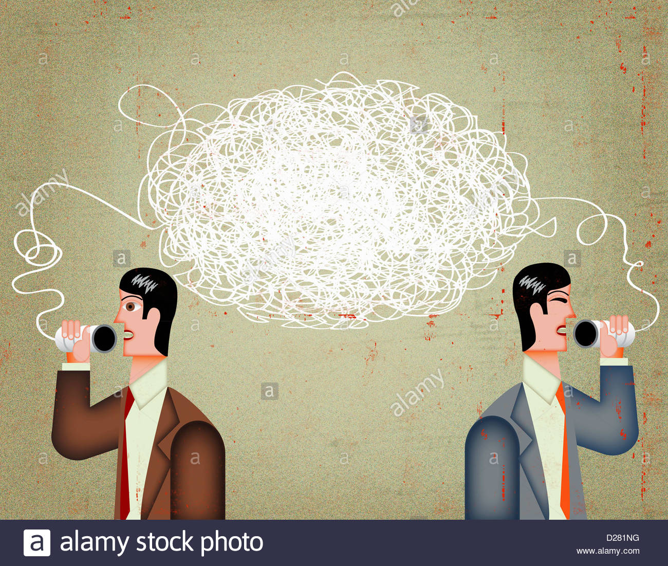 Tangled string connecting businessmen talking on tin can telephone Stock Photo