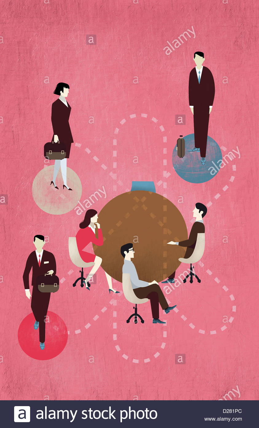 Business people moving round table - Stock Image