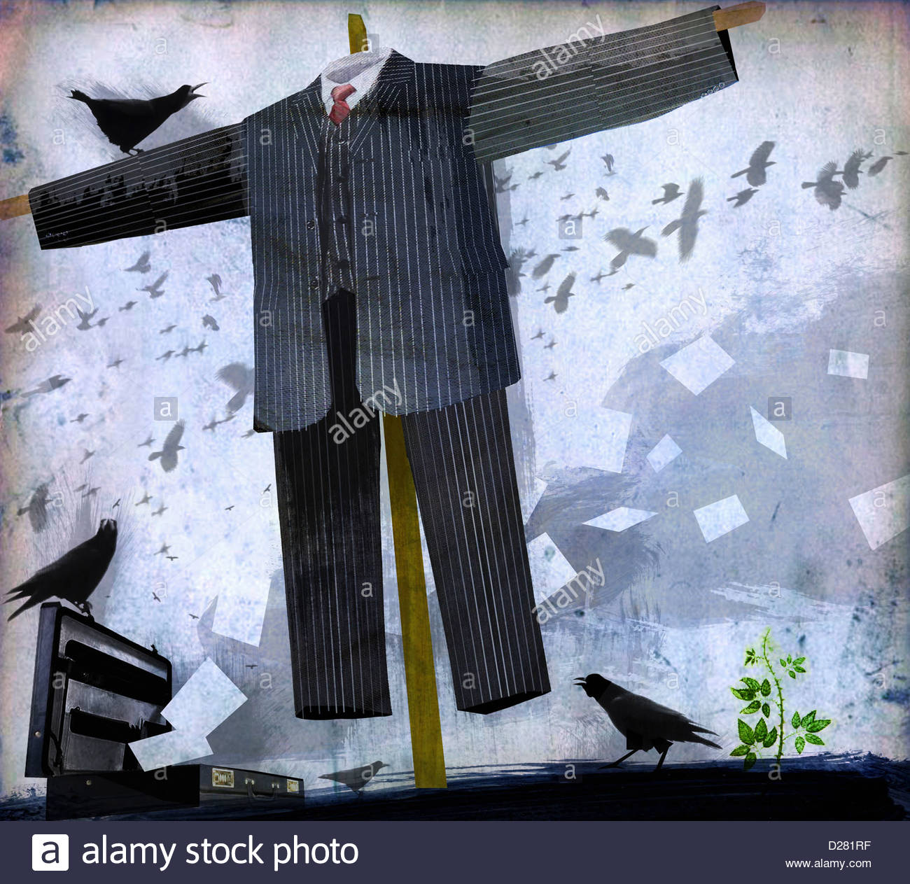 Businessman scarecrow Stock Photo