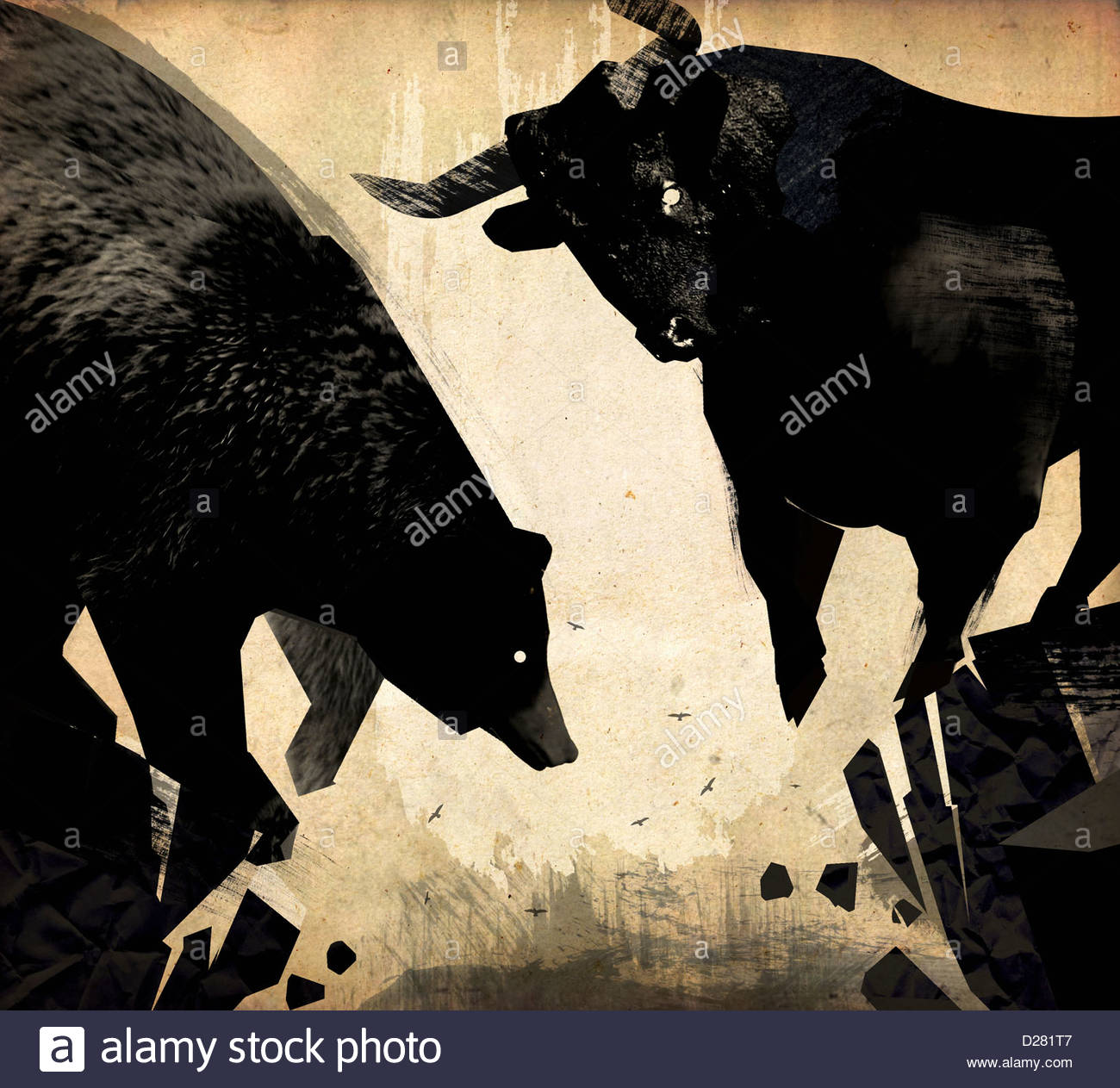 Bull and bear at the edge of crumbling cliff Stock Photo