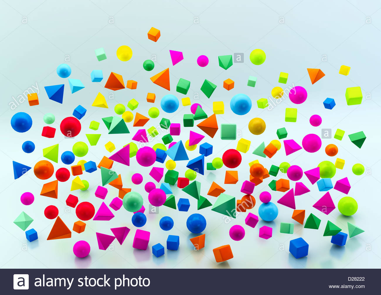Abstract floating multicolored geometric shapes on blue background - Stock Image