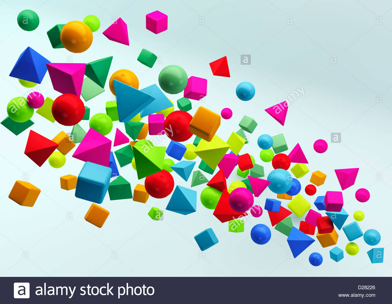 Abstract floating cluster of multicolored geometric shapes on blue background - Stock Image