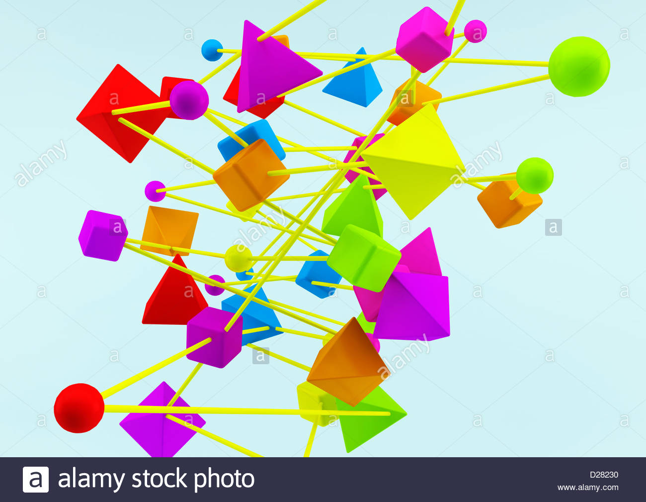 Connected multicolored geometric shapes on blue background - Stock Image