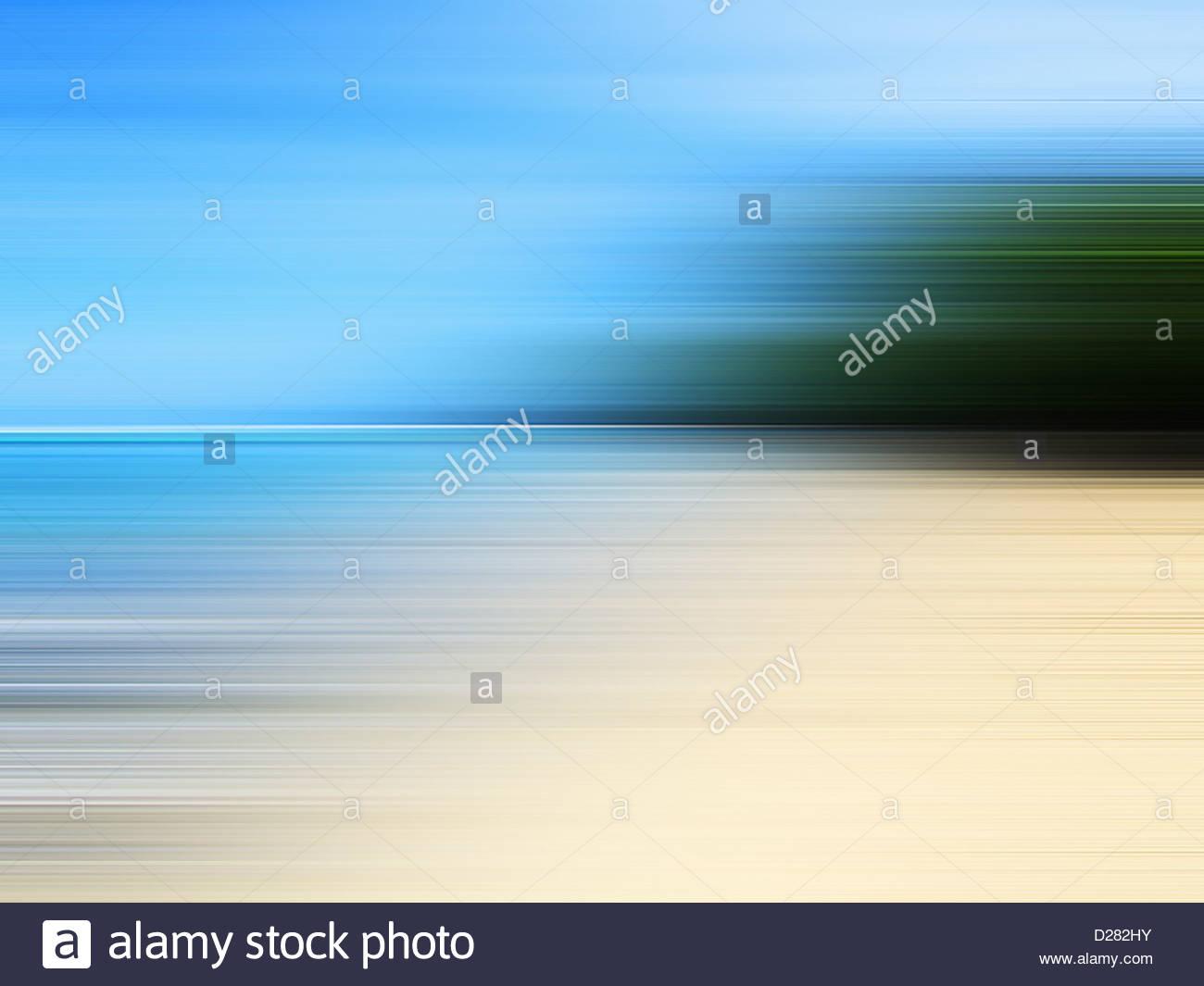 Blurred beach - Stock Image