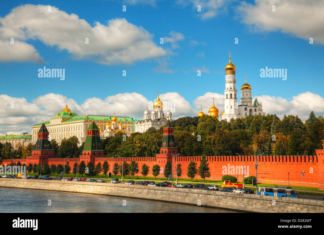 Overview of Kremlin in Moscow on a sunny day - Stock Image