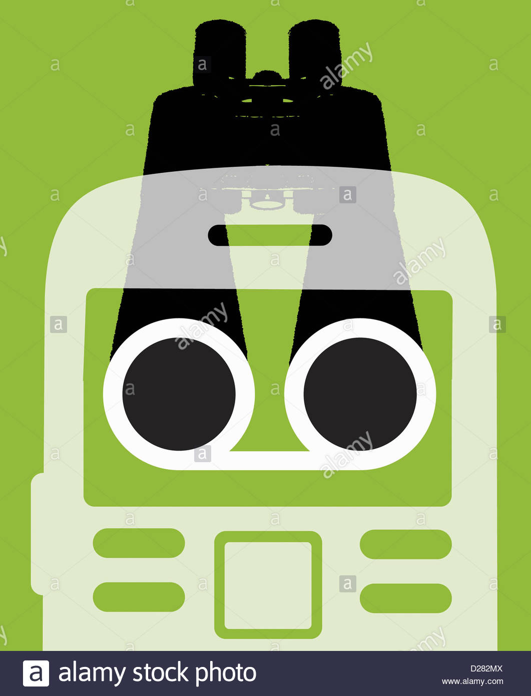 Binoculars behind cell phone on green background - Stock Image