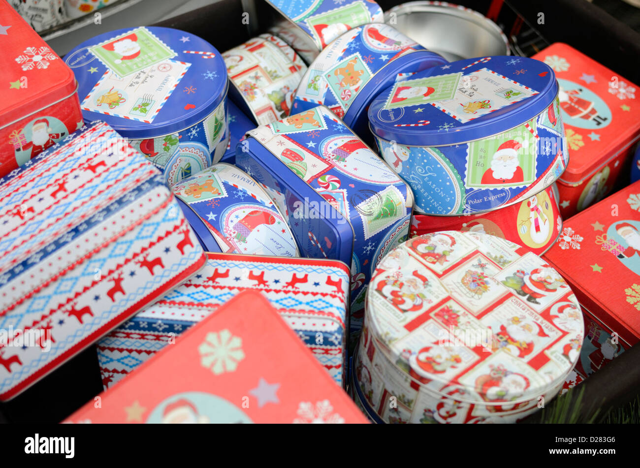 Christmas gift biscuit tins in a shop display Stock Photo: 53038838 ...