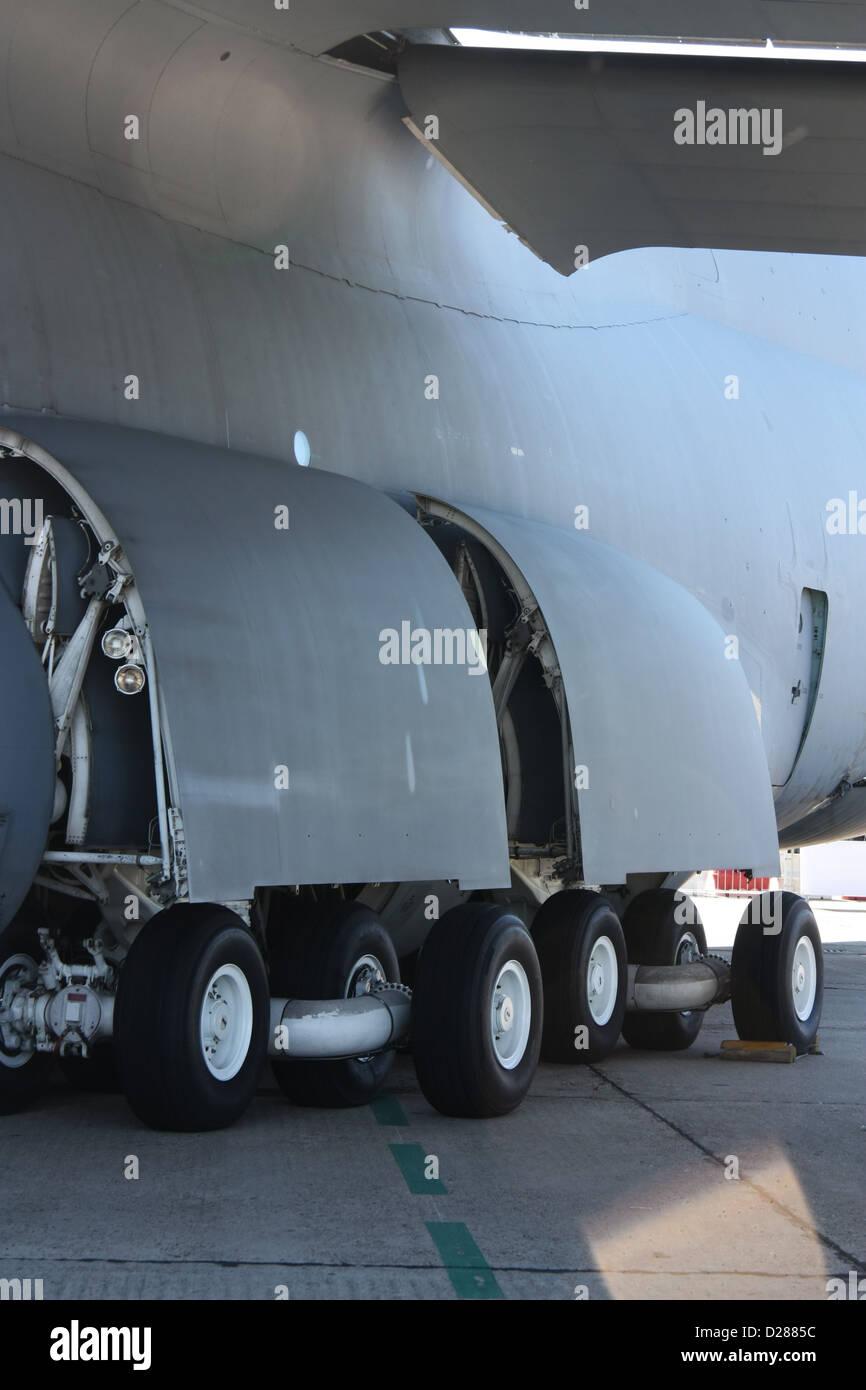 Wheels of a big military plane Stock Photo