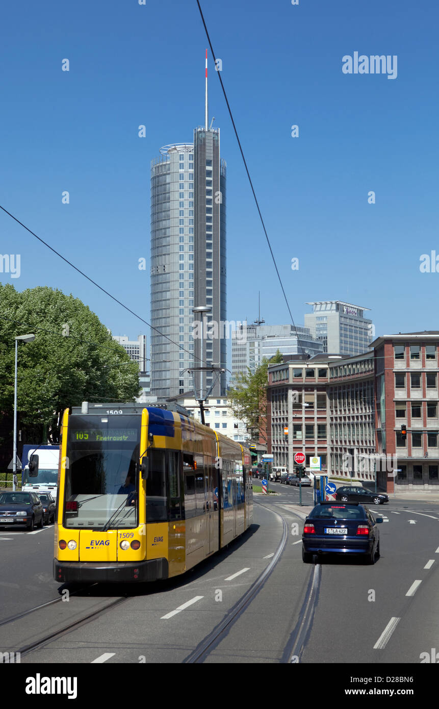 Essen, Germany, EVAG tram in front of the buildings of RWE AG and Evonik AG - Stock Image