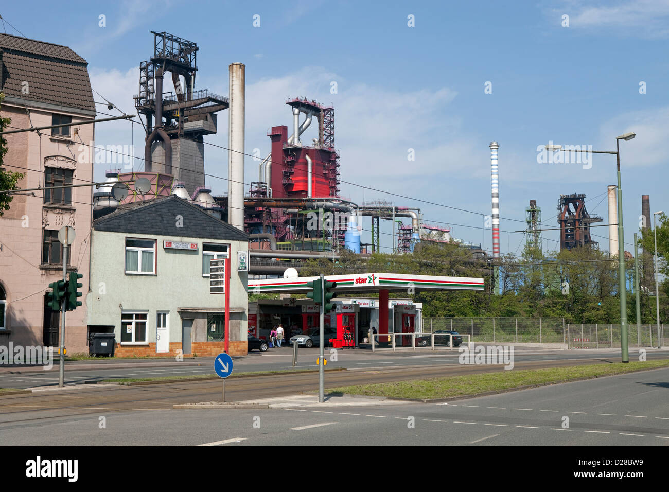 Duisburg, Germany, townscape with the blast furnace 8 of ThyssenKrupp Steel AG - Stock Image