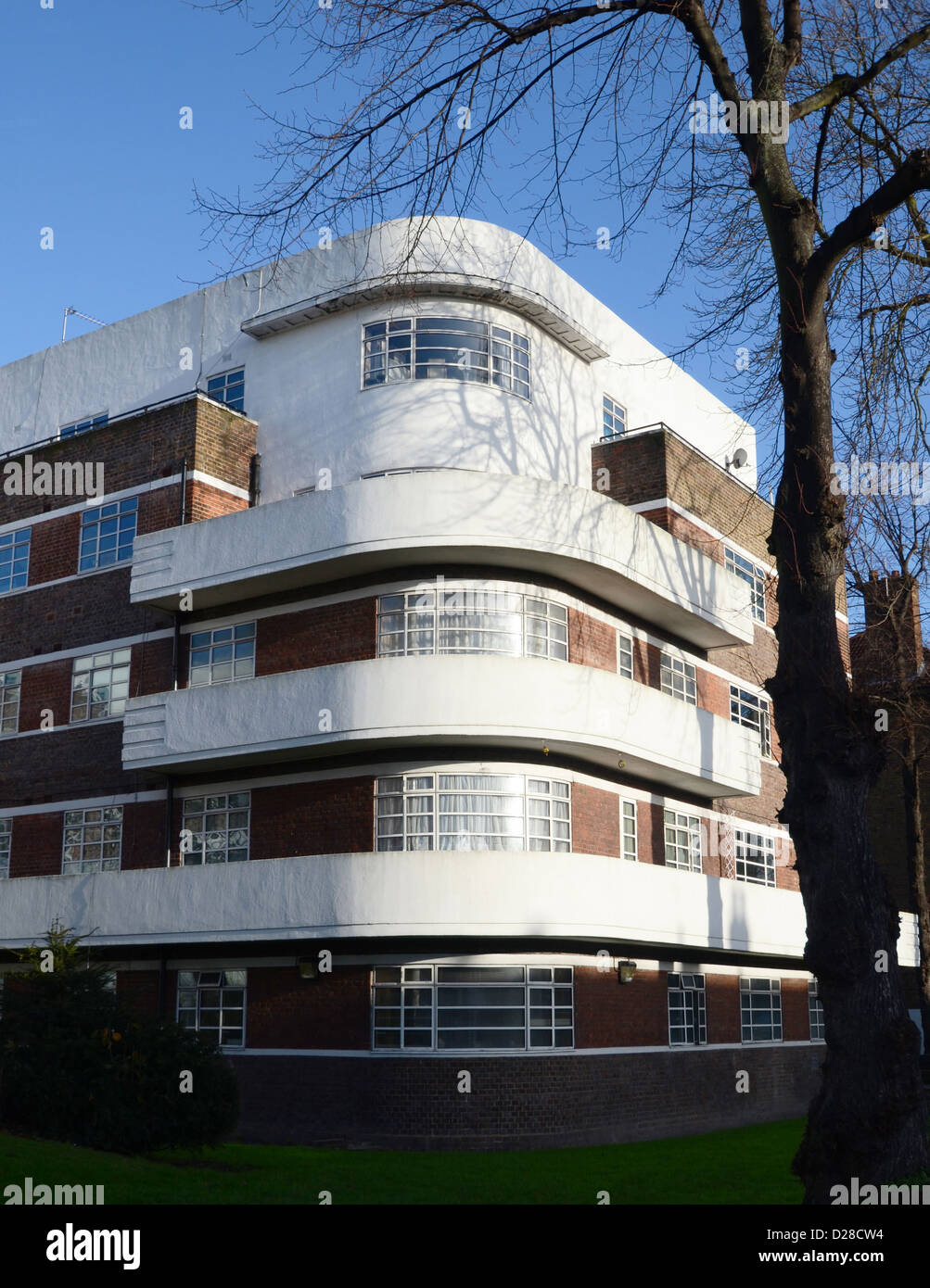 1930s art deco flats in clapham south london 2012 stock photo