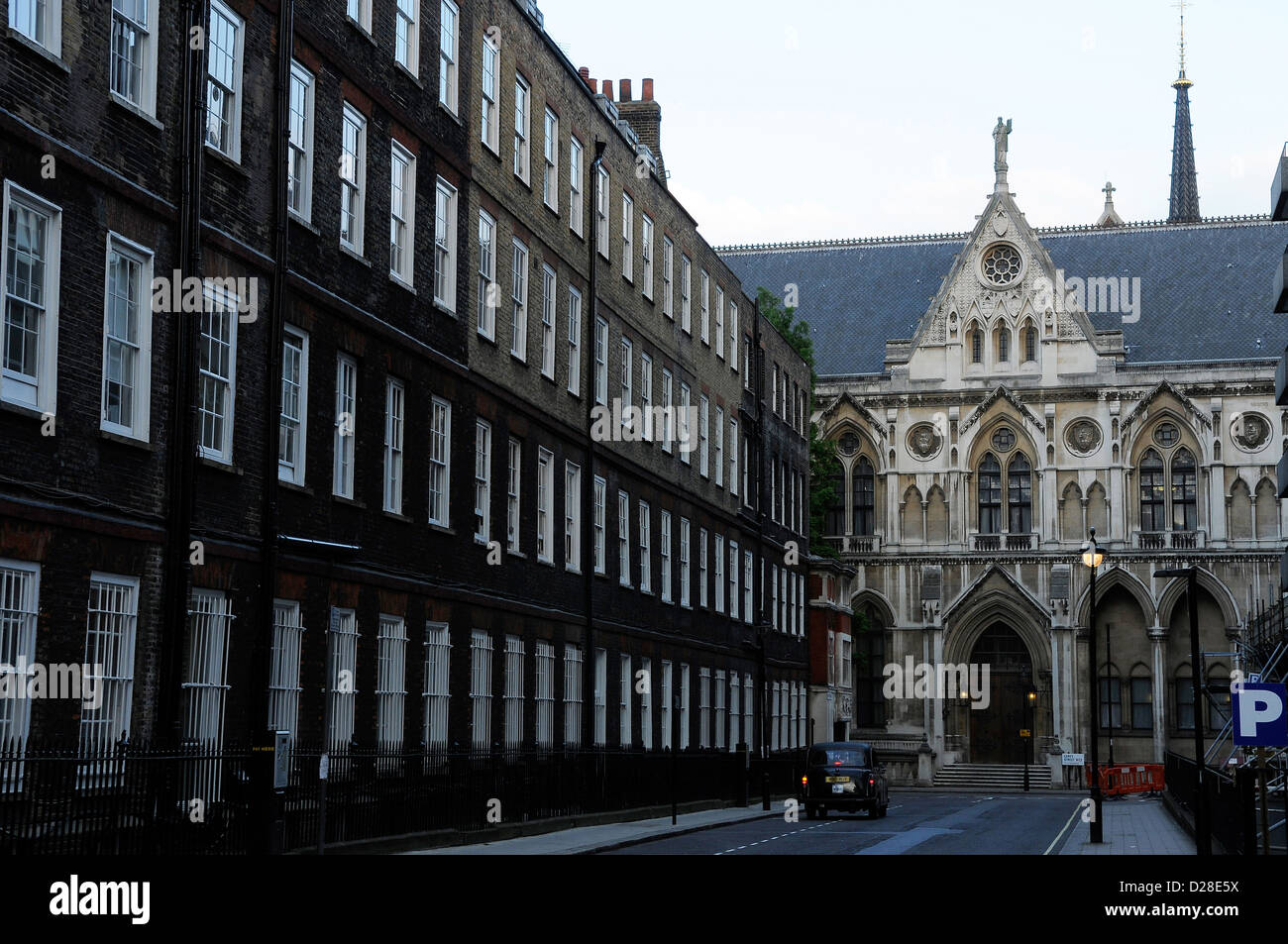 London's Royal Courts of Justice seen from Newman's Row, Lincoln's Inn Fields. 2010. Stock Photo