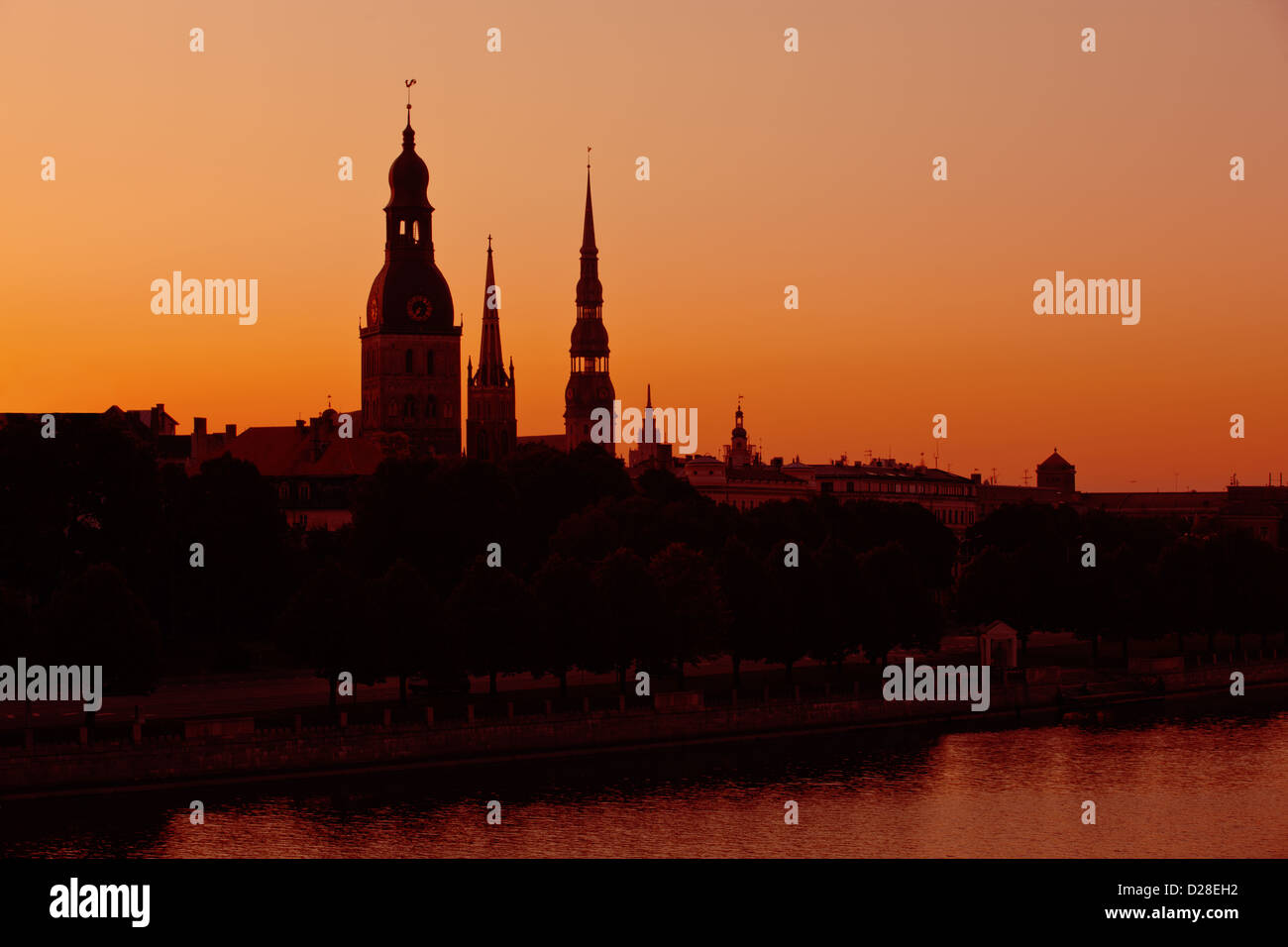 Silhouette of Riga, Latvia. Landscape. - Stock Image