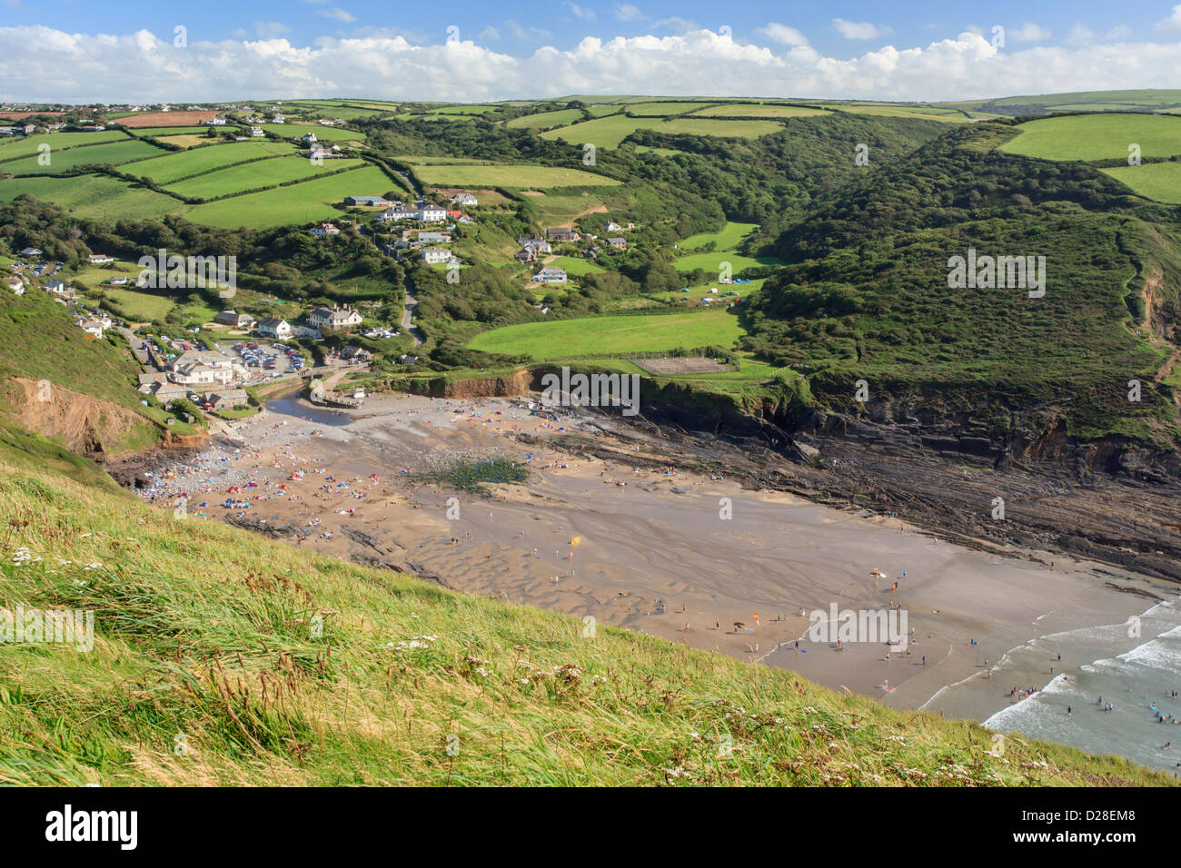 Crackington Haven captured from the South West Coast Path - Stock Image