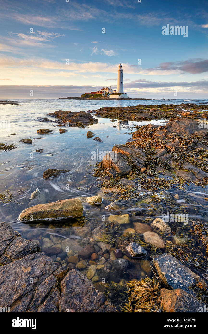 St Mary's Lighthouse near Whitley Bay on the North Tyneside coast. Captured at high tide