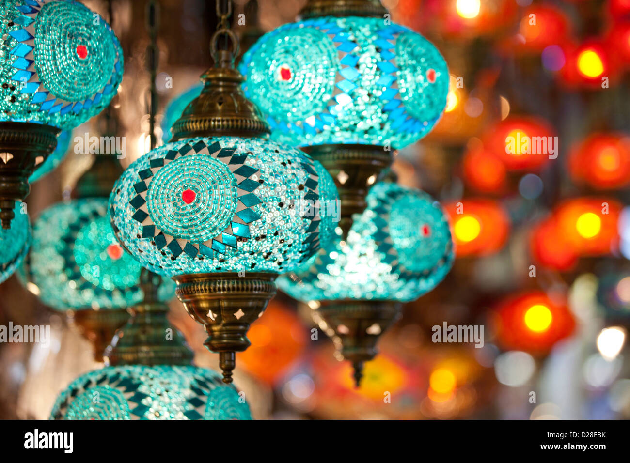 Colourful electric turkish glass lanterns lamps in Grand Bazaar Kapali Carsi Kapalicarsi ( Covered Market ) in Istanbul, - Stock Image