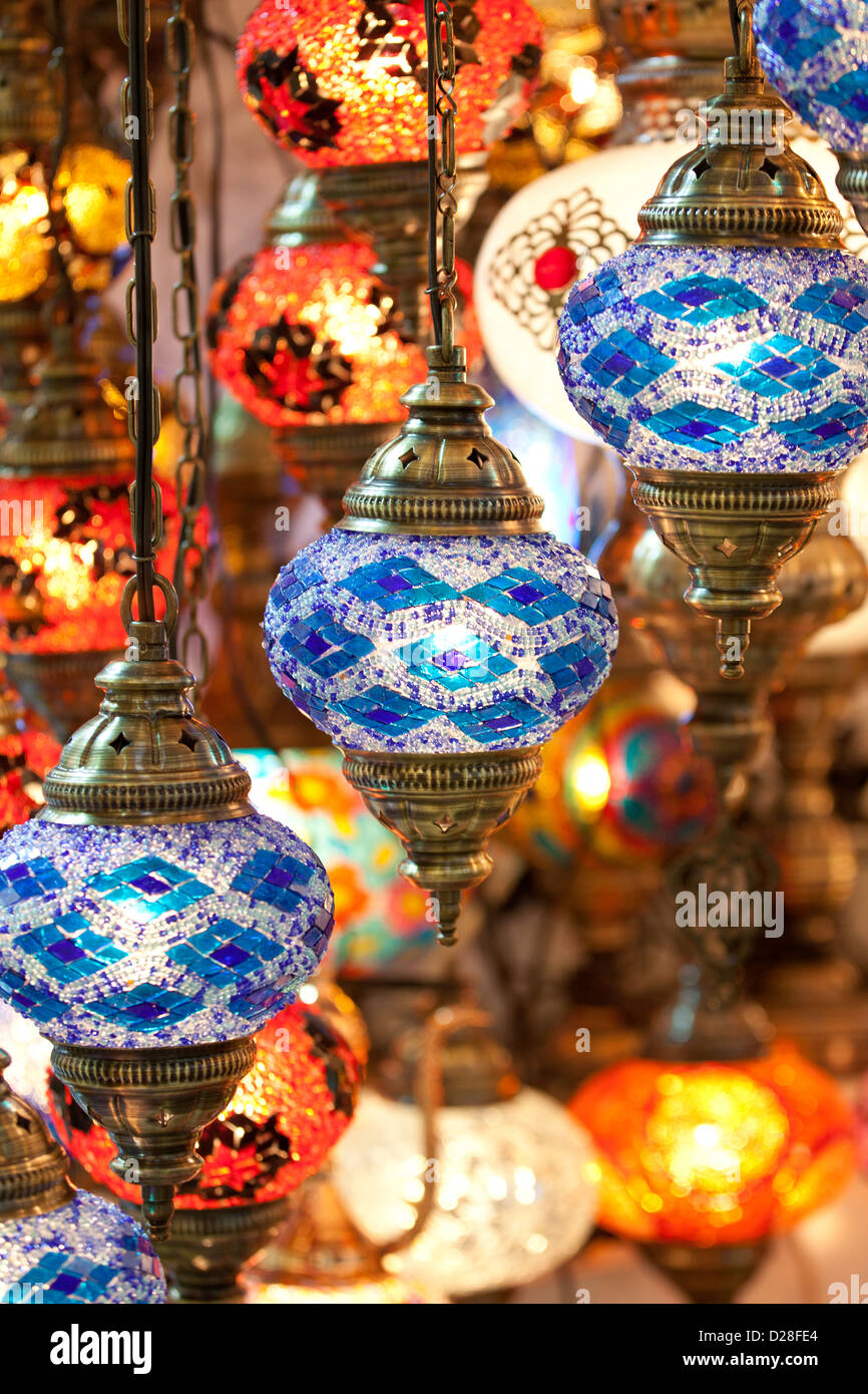 Colorful electric turkish glass lanterns lamps in Grand Bazaar Kapali Carsi Kapalicarsi ( Covered Market ) in Istanbul, - Stock Image