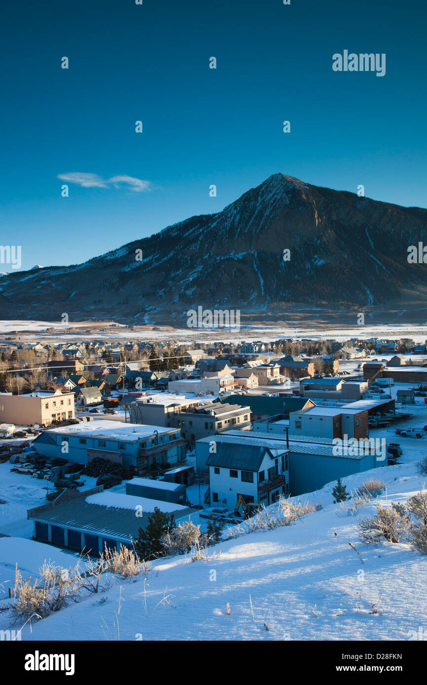 USA, Colorado, Crested Butte, elevated town view, with Mount Crested Butte, morning - Stock Image