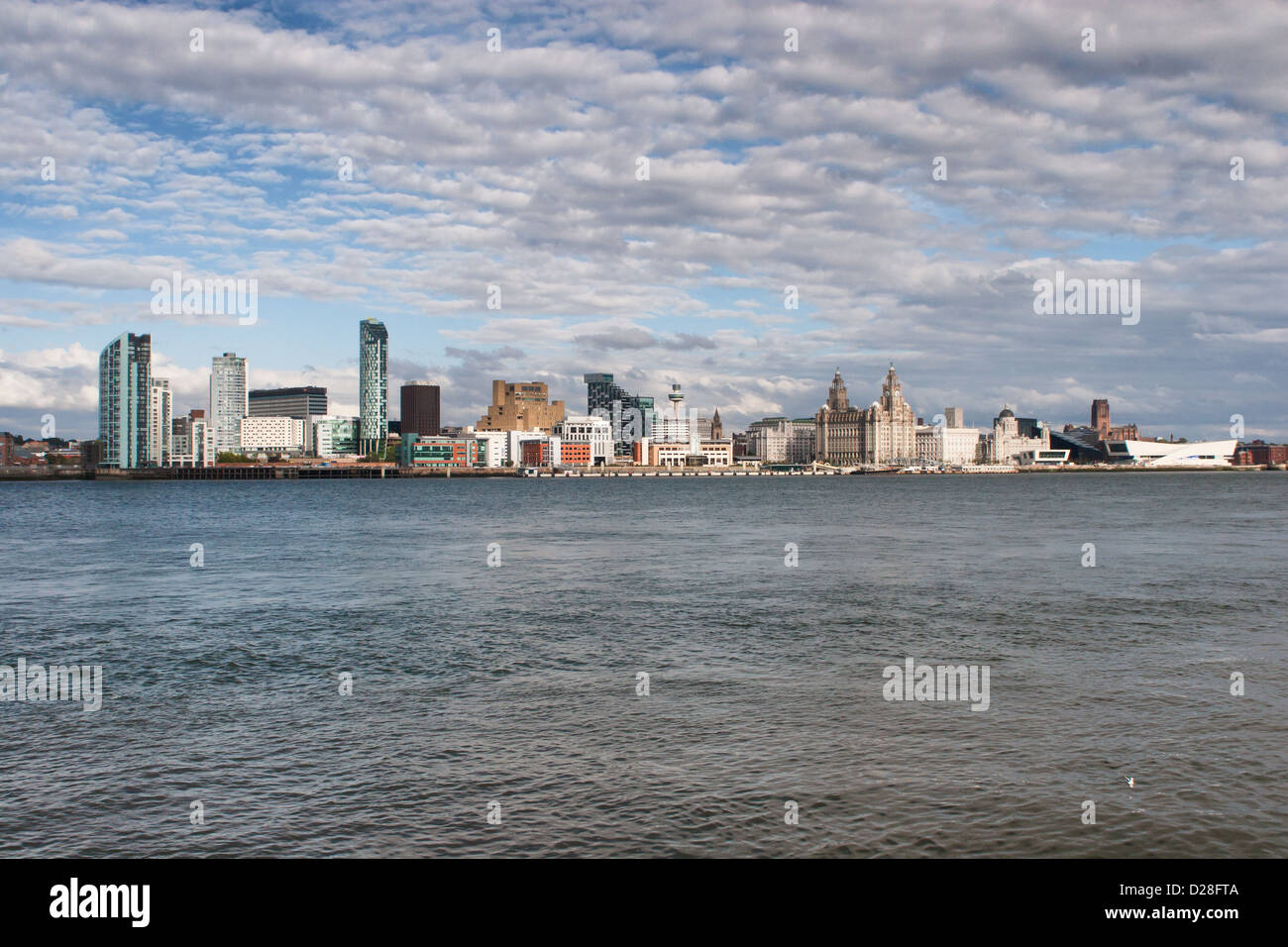 Liverpool skyline taken across the River Mersey - Stock Image