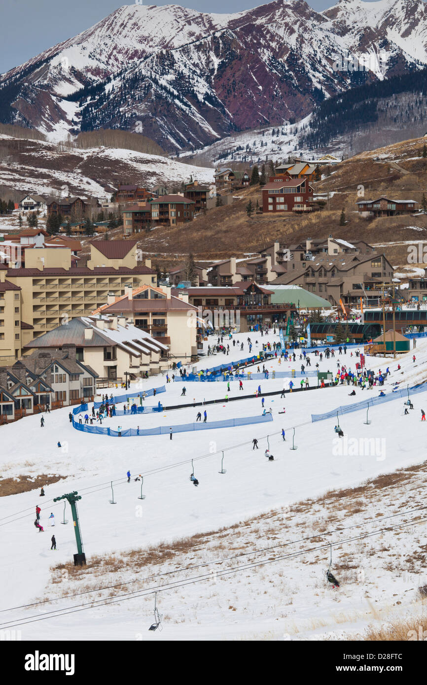 USA, Colorado, Crested Butte, Mount Crested Butte Ski Village, elevated view - Stock Image